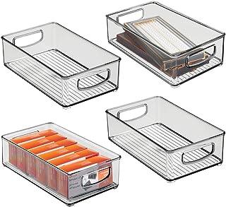 mDesign bac de rangement pour accessoires de bureau – panier de rangement empilable en plastique pour armoire ou tiroirs –...