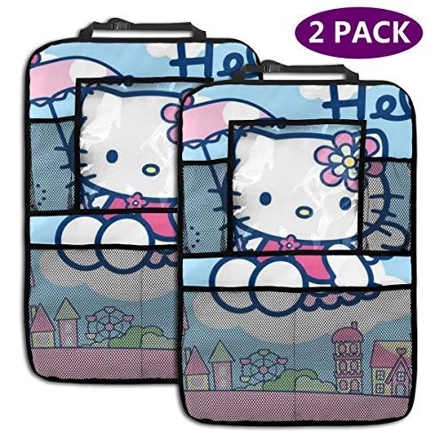 TBLHM Hello Kitty Flying Lot de 2 Sacs de Rangement pour siège arrière de Voiture avec Support pour Tablette