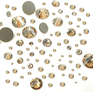 CRYSTAL GOLDEN SHADOW (001 GSHA) 144 pcs 2058/2088 SWAROVSKI Flatbacks rhinestones nail art mixed with Sizes ss5, ss7, ss9, ss12, ss16, ss20, ss30