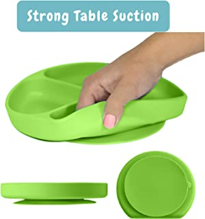Silicone Suction Plate for Toddlers, Fits Most Highchair Trays, BPA Free, Divided Baby Feeding Bowls Dishes for Kids (Green)