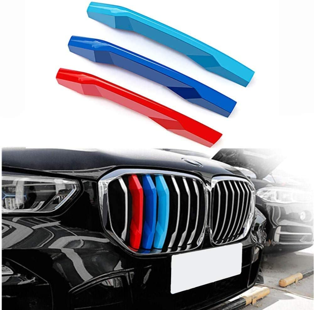 NanDa M-Colored Stripe Grille Insert Decoration Trims Sport Grille Insert Trim Strips for BMW 2018-up G01 X3 G02 X4 7Grilles