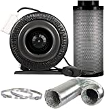"""Yield Lab 6 inch 440 CFM Duct Inline Fan with 6"""" Carbon Filter Ducting and Clamps"""