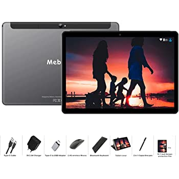 Tablet 10 Pollici MEBERRY Android 9.0 Pie Tablets 4GB RAM + 64GB ROM - Certificato Google GSM - Dual SIM | 8000mAh | WI-FI| Bluetooth | GPS |Type-C (5.0+8.0 MP Telecamera) - Grigio