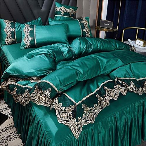 Bedding-LZ -Falda de lecho de Encaje Set de Cuatro Conjuntos de Seda Europea de Gama Alta Princesa de Viento dormitorios Antideslizantes para Hornear-mi_1,8 m Cama Cuatro Piezas