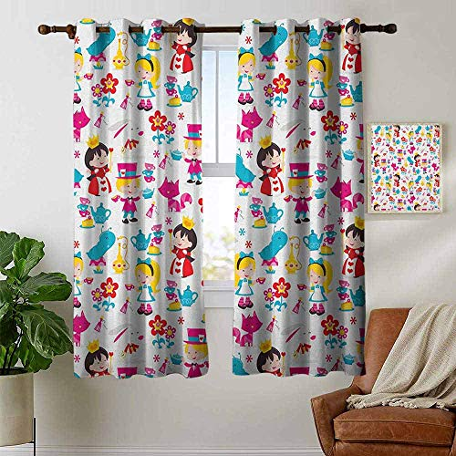 petpany grommet curtains Nursery,Cute Cartoon Style Queen Rabbit Yellow Haired Girl Flowers Slug Tea Cups Stacked, Multicolor,Blackout Draperies For Bedroom window 42'x63'