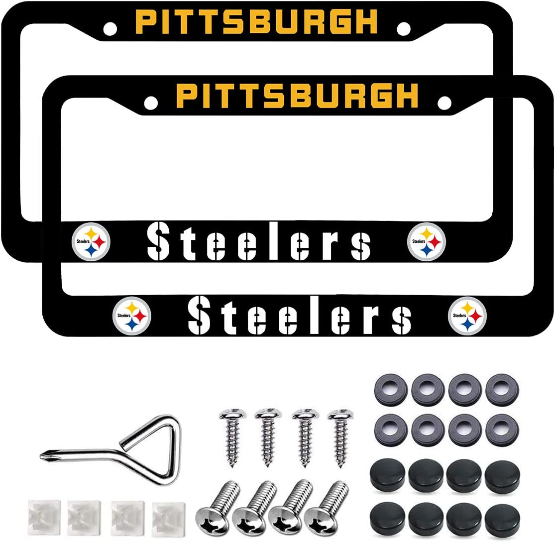 Chrome 2 Pack Bling Stainless Steel Polish Mirror Silver Steelers License Plate Frames,Universal US Auto Steelers Car Licenses Plate Covers Holders,Rust-Proof Weather-Proof Rattle-Proof