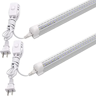 T8 V-Shape Integrated Single Fixture, 2FT Led Tube Light, 1680lm, 6000k White, 15W, Utility Shop Light, Ceiling and Under Cabinet Light, Corded Electric with Built-in ON/Off Switch (Pack of 2)