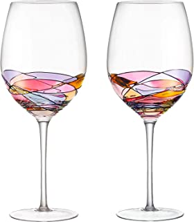 DAQQ Red Wine Glasses Set of 2 Hand Painted Designed with Strong Presence Inspired by the 'Duomo di Milano', Fine Addition To Any Wine Decanter, Unique Gift for Wine Enthusiasts