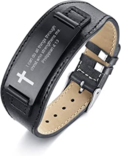 MEALGUET Stainless Steel Black Religious Quote Faith Christian Bible Verse Inspirational ID Wristband Cross Bracelets for Men