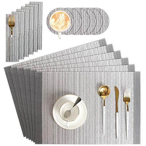 Platzset Silber Abwaschbar 18er Set, PVC Tischset (45x30 cm) 6 Tischuntersetzer Platzset, 6 Glas Untersetzer, 6 Bestecksäcken, Abgrifffeste Hitzebeständig Rutschfest Platzdeckchen (Silber-Platzset)