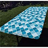 Light Blue Polyester Fitted Tablecloth,Harlequin Winter Theme Pattern Elongated Squares Aquatic Colors Antique Italian Decorative Rectangular Elastic Edge Fitted Table Cover,Fits Rectangular Tables 48