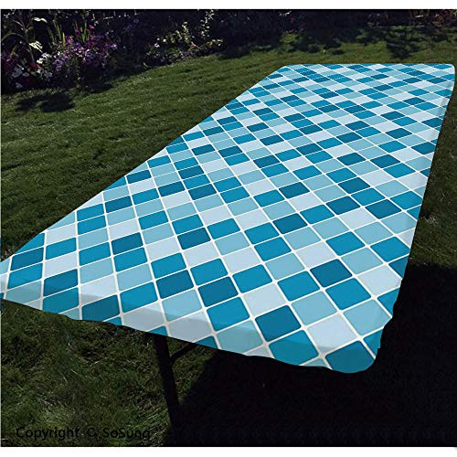 Light Blue Polyester Fitted Tablecloth,Harlequin Winter Theme Pattern Elongated Squares Aquatic Colors Antique Italian Decorative Rectangular Elastic Edge Fitted Table Cover,Fits Rectangular Tables 72