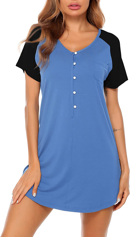 LecGee Women's Short Sleeve Nightshirt Button Sleepwear V Neck Raglan Sleepshirt Boyfriend Style Pajama Dress