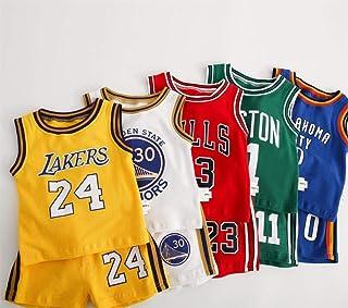 CHUANG Juego de Deportes para niños, niños Jersey, Lakers Kobe # 24 / Bulls Jordan # 23 / New Jersey Jersey - Celtics # 11 / Warriors # 30# / Fans de Baloncesto de niños y niñas (x5)