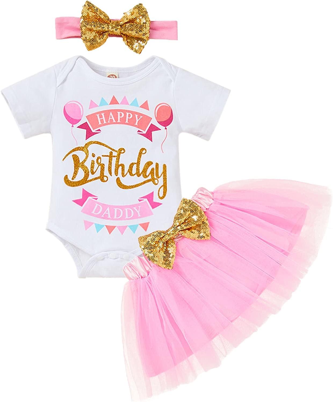Baby Girl Cake Smash Skirt Set Infant Girl Daddy's Birthday Romper Tutu Skirt with Headband Outfits