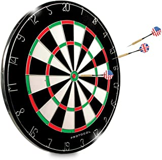 """Dartboard - 18"""" Regulation Sized Tournament Dartboard   2 Sided - Classic 20 Point & Circular Bulls-Eye   6 Steel Tipped Brass Darts design for Long Life and Flawless Performance   Great for Basement"""