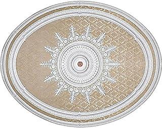 Ceiling Medallion Beige Blanco Oval Shape 79 Inch x 63 Inch Chandelier Light Art Decor