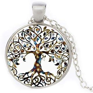 Photo cabochon verre argent populaire Chaîne Pendentifs Collier ( arbre de vie )