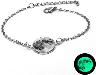 Charm Bangle Inspirational Jewelry Glow in The Dark Charms Bracelet Glass Cabochon Gray Moon Luminous Jewelry Silver Chain Link Bracelets for Women Girl Gift