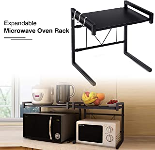 GEMITTO Microwave Oven Rack, Expandable Carbon Steel Microwave Shelf, Kitchen Counter Shelf, 2 Tiers with 3 Hooks, 55lbs Loading Bearing (40~60x36x42cm/ 15.8~23.6