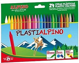 Ceras de Colores Plasti Alpino PA000024- Estuche de Ceras para Niños de 24 Unidades - Lápices de Cera para Manualidades y ...