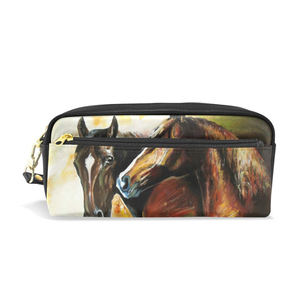 Estuche para lápices con diseño de caballos de pintura al óleo, bolsa para artículos de papelería escolar, bolsa de maquillaje para viajes: Amazon.es: Oficina y papelería