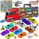 LOYO Transport Car Carrier Truck Toy - Toddler Car Toys Set with 11 Colorful Die Cast Mini Vehicle Play Sets Birthday for 2 3 4 5 6 7 Years Old Kids Boys