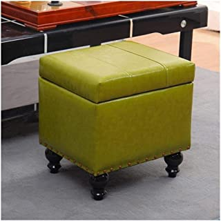 Chang Footstool Leather Ottoman Makeup Stools,Pouffe Storage Toy Box Padded Foot Stool Cube Bench Seater for Living Room,Green(A)