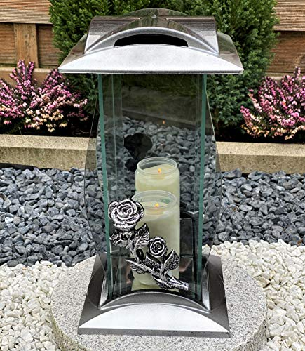 Grablampe Grablicht Grabdekoration Grabstein Grabschmuck Gartenlampe Kerze incl.Grabkerze