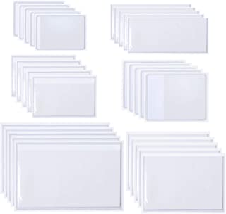 Aneco 30 Pack Self-Adhesive Card Pockets Label Holder Pockets with Open Sides for Organizing and Protecting Index Cards, Business Cards or Photos, 6 Different Sizes