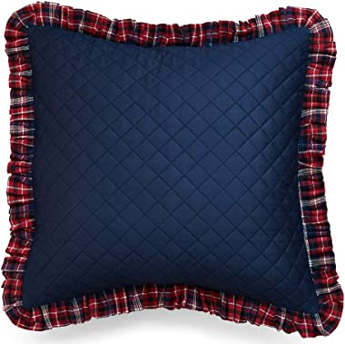 Simple&Opulence 100% Yarn-Dyed Cotton and Flannel Buffalo Check Euro Pillow Sham, 26x26 Inch Home Decorative Cushion Cove