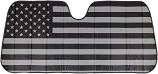 Best Black White/Gray American Flag - Front Windshield Sun Shade - Accordion Folding Auto Sunshade for Car Truck SUV - Blocks UV Rays Sun Visor Protector - Keeps Your Vehicle Cool - 58 x 28 Inch Review