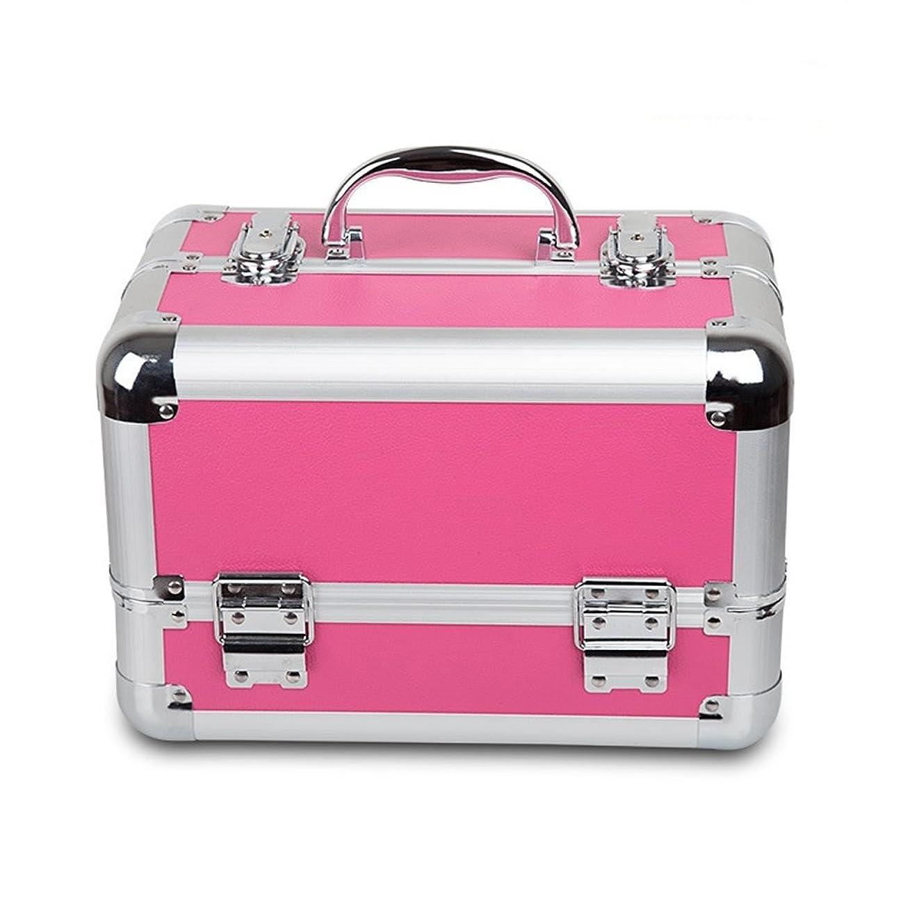 テーブルを設定するベックス交じるプロフェッショナルメイクアップケースラージスペース美容化粧ケースネイルジュエリー収納ボックス(クロコダイルパターン、ピンク)