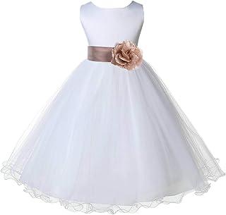 a793131e401 ekidsbridal Wedding Pageant White Flower Girl Rattail Edge Tulle Dress 829s