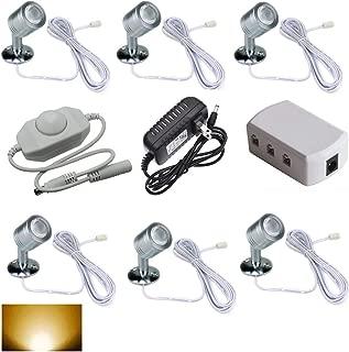 12V 1W LED Spotlight Set - Warm White 3000K for Cabinet Light,Jewelry Lamp, Ceiling Light,Display Cabinet Light,Museum,Wall Light (Pack of 6)