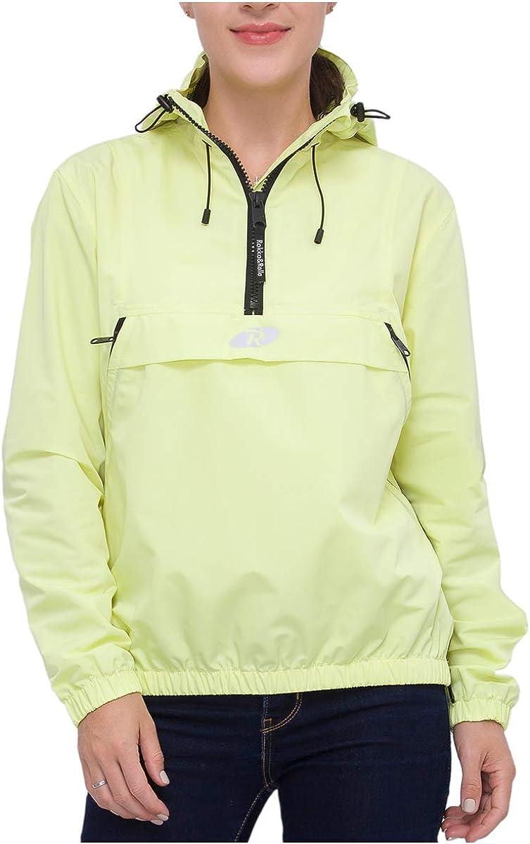 Rokka&Rolla Women's Water-Resistant Hooded Windbreaker Anorak Track Jacket
