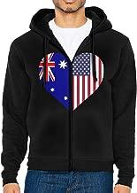 LD6DBGK Australia Flag Half America Flag Half Heart Shaped Men's Full Zip Fleece Hoodie Winterwear