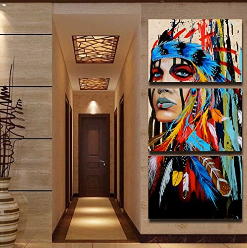 3 Piece Canvas Art American Indian Canvas Feathered Painting Wall Pictures for Living Room, Office and Home Wall Decor (3050cm3PCS)