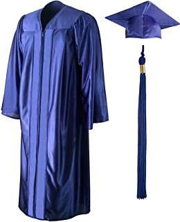 Adult and Teen Unisex Shiny Graduation Gown, Cap and Tassel Set Incl 2019/2020 Signets, Multiple Colors and Sizes