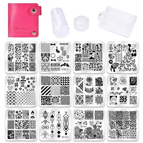 Biutee Set di Nail Art Stamping 12pcs Nail Template Piastra per Unghie+...