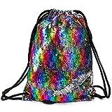 Mermaid Drawstring Bag Magic Reversible Sequin Backpack Glittering Dance Bag for Girls Women Kids (Rainbow Color)
