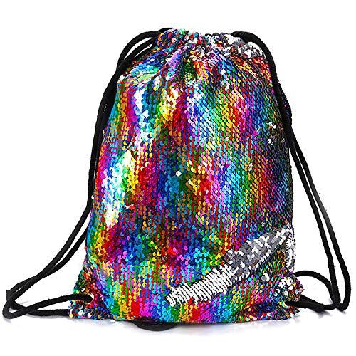 Pailletten Rucksack Mermaid Glitzer Tasche Magie Tasche Tunnelzug für Mädchen Frauen Kinder 33×42cm