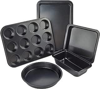 Turbo Bee BakewareSet 5pcs, Cookie Sheet & Loaf Pan & Square Pan & Round Cake Pan &12 cups Muffin Pan, Nonstickbakingcake pan for baker and baking enthusiast