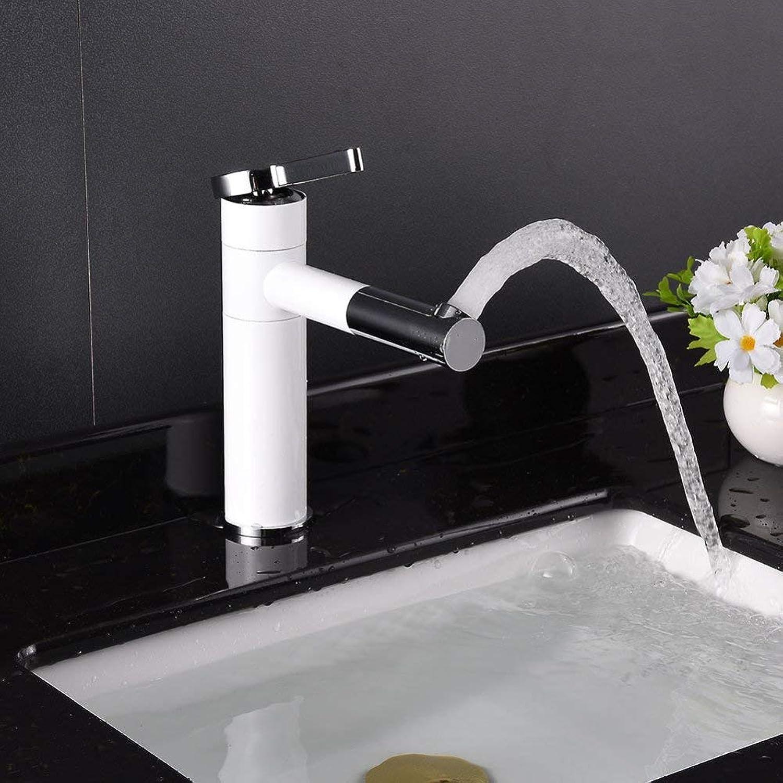GONGFF Wasserhahnfarbe unter Gegenbassinhahn drehender Bassinhahn Badezimmerwaschbecken-heier Hahn-Einzellochhahn