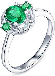 ButiRest - Anello in oro bianco 18 carati 750 con quattro artigli, taglio brillante 0,65 carati verde smeraldo VS e diaman...