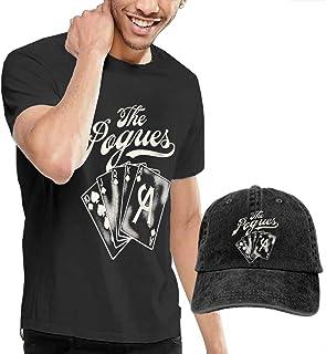 POGUES ポーグス ACE メンズ Tシャツ キャップ セット 吸汗速乾 インナーシャツ まとめ UVカット 紫外線対策 半袖 カウボーイ帽 クルーネック 丸首 カジュアル オシャレ シンプル 黒