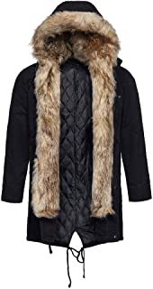 wuliLINL Men's Casual Long Sleeve Windproof Faux Fur Cotton Coat Jacket with Hoodies