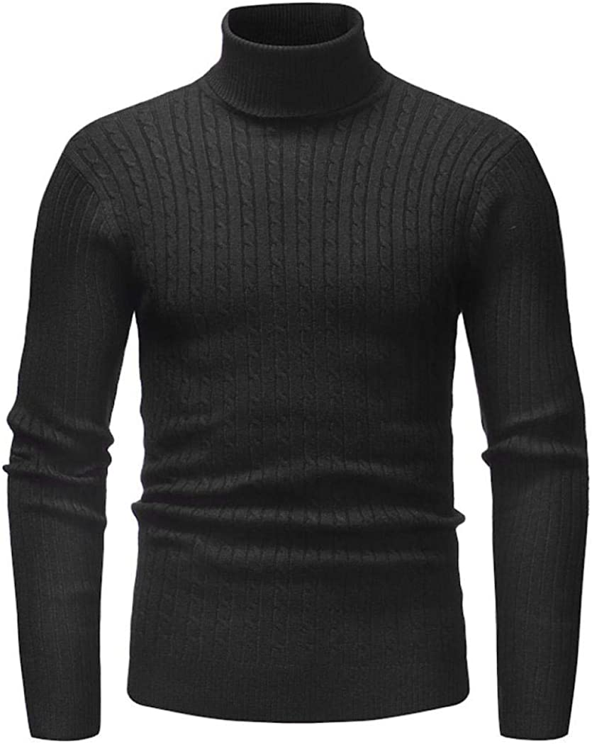 Comeon Men Turtleneck Sweater Twist Slim Fit Cotton Knitted Pullover Top