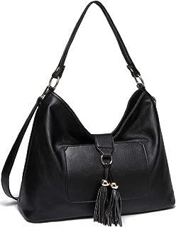 Hobo Bag Purse for Women,VASCHY SAC Faux Leather Fashion Vintage Tassel Handbag Tote Bag with Detachable Long Shoulder Strap