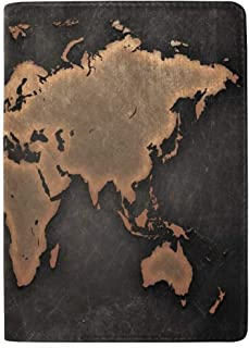 Ancient Black Map Real Leather Passport Holder Wallet Case Cover for Men Women